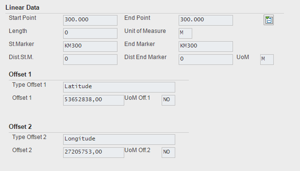 Fig. 13. Linear Assets Maintenance :: Maintenance Order in SAP GUI :: Linear Data.