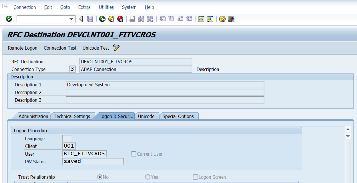 Using RFC Destinations to Switch User ID in SAP NetWeaver