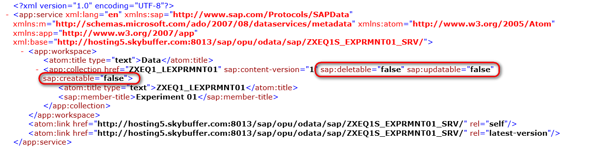 C-create, R-read, U-update, D-delete OData Services Creation