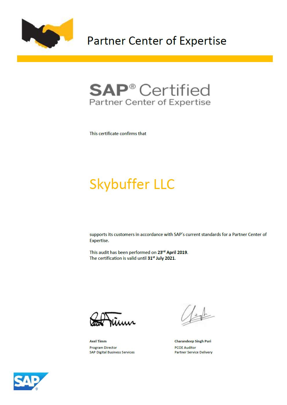 skybuffer_sap_certified_pcoe